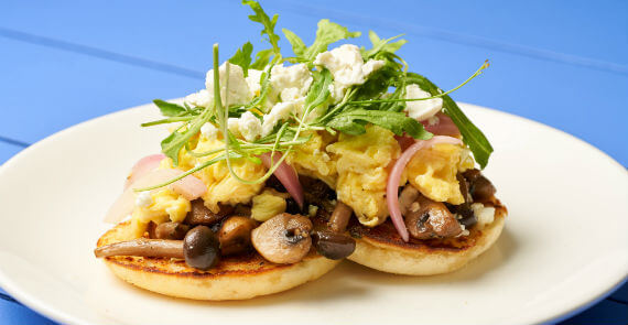 Forest Mushrooms with Scrambled Egg and Feta Cheese
