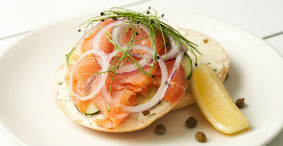 Fresh Bagel with Smoked Salmon